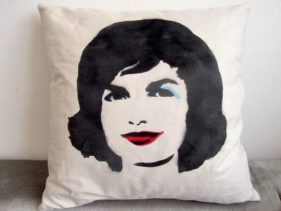 Jackie O Warhol Retro Hand Printed Pillow
