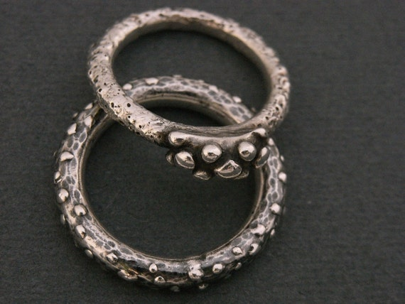 Fine silver ring - textured, hammered and abstract design - sea creature