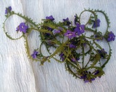 1930's Violet Needled Lace Trim Made of Pure Silk Thread - Purpel and Green