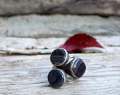 3 Stone Silver Coated Stone RING - Agate - Jewelery - Handmade Jewelry - Natural Stone - Agate ring