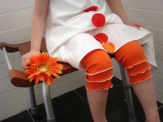 Orange Ruffle Leggings with scalloped edging