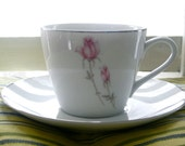 Post War 1950s Rose China Duet - Beautiful Cup and Saucer made in Japan
