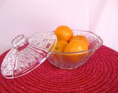 Beautiful Cut glass Candy Dish with Lid - 4 inches deep & 7 inches in diameter.