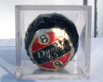Vintage Wrapped Dunlop 65 Number 8 Golf Ball  in Clear Plastic Case