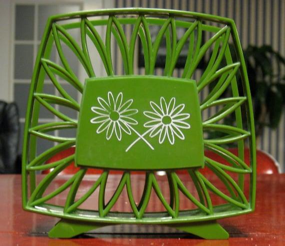 Flower Power 1970's Green Napkin Holder RESERVED FOR VANESSA