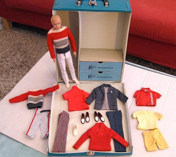 Vintage Ken Doll, Clothes, 2 pairs Shoes,1 Pair of Socks & 1962 Ken Clothes Case