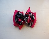 Pink with  Black & White Zebra Animal Print Boutique Hair Bow New