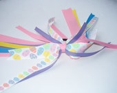 Easter Ponytail Holder -  Pink Easter Egg -ceptionaly Light Pastel Ribbon Ponytail Holder