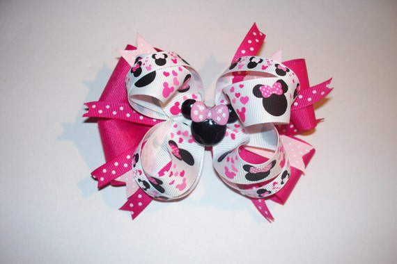 Pink Stacked Minnie Mouse Loopy Boutique Hair Bow w/ Matching Minnie Mouse flat back resin center