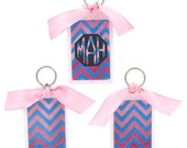 Blue & Pink Chevron Rectangle Acrylic Key Tag