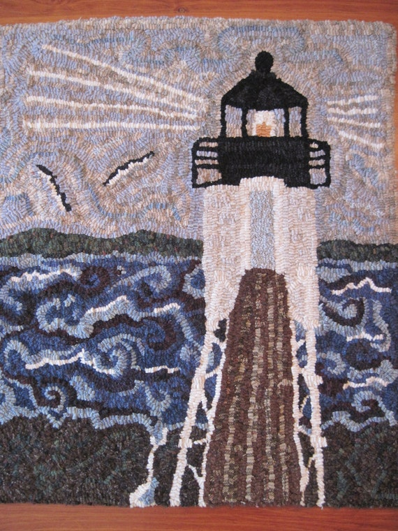 "Storm at Marshall Point Light , Maine - Finished Hooked Rug 22"" x 25"""