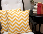 Zig zag yellow (Set of 2), 16x16 inch Pillow Cover, Throw pillows, Pillow Case, Home Decor, Designer Fabric, Floral