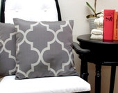 Pillow Covers 16x16 inch--(Set of 2) Quatrefoil Gray