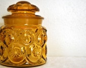 yellow glass jar with lid