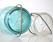 Ball aqua blue mason jar and Atlas brand clear jar EZ Seal
