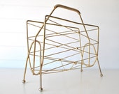 RESERVED for Kent - Atomic mid century brass magazine stand rack