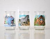 Vintage children's zoo animal glasses - welch's zebra, elephant, gorilla juice glass