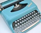 Mid Century Typewriter Consul in aqua blue European