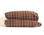 Vintage Brown Bedspread Set - Brown, Mustard yellow and White lines - Twin Size