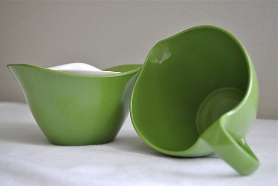 Green Melamine Cream and Sugar set
