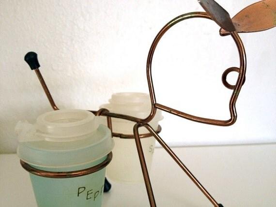 Brass animal tupperware salt and pepper holder retro cool 1950s