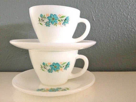 Milk Glass Floral Plate and Tea Cup Set