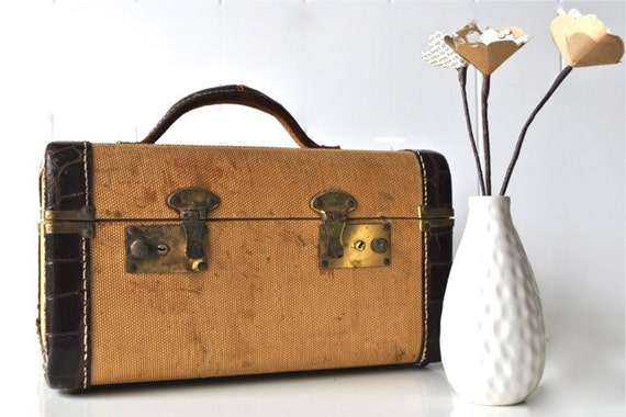 Tweed and leather train case luggage golden yellow and brown