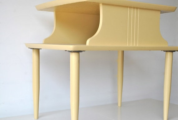 Mid Century Side Table - Soft Yellow - two tiered