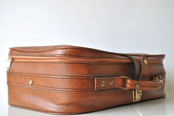 Brown leather luggage fathers day gift for him