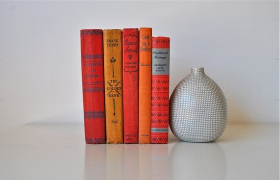 Vintage book collection red, golden, orange and tangerine home decor