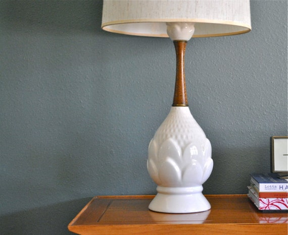 RESERVED for Susan - Mid Century lamp  teak and white ceramic lamp