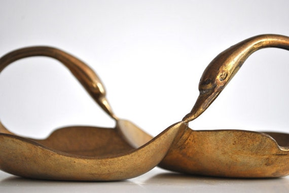 Brass swan dish - Wedding gift
