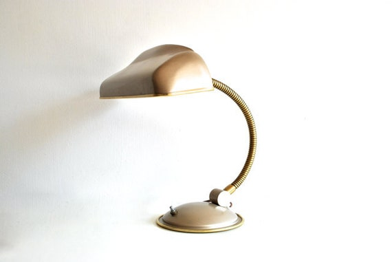 Mid-century desk lamp tan gold mad men era