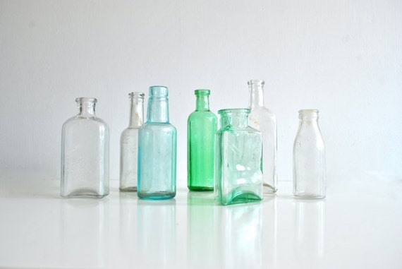 Antique Glass Bottle Collection - Clear, blue, green - 7 bottles apothecary beach glass