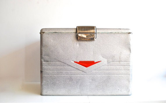 Mid Century Metal Cooler - Thermaster by Poloron - Industrial Silver and Red