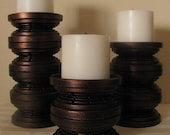 Pillar candle holders, set of 3