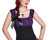 AUDREY-03 Purple Animal Print Top with Pin XS-L