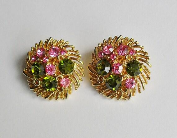 Lisner Stamped Vintage Clip on Earrings
