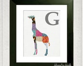Nursery Alphabet Art - G is for Giraffe - 8x10