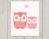 Nursery Owl Art Print - Mom and Baby Owl - 8x10