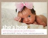 Birth Announcement Photo Card - Custom Baby Announcement
