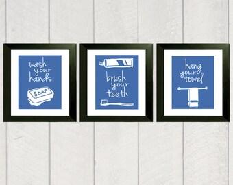Bathroom Art Print - Set of 3 - Color - 8x10
