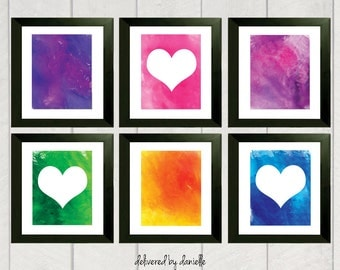 Heart Art Prints - Set of 6 - 5x7