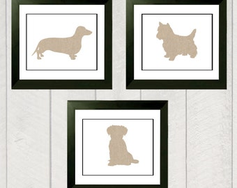 Nursery Art Print Set - Puppy Dog Silhouettes - 8x10