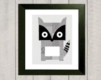 Raccoon Nursery Art Print - Woodland Nursery - 5x7