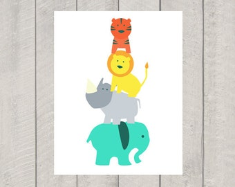 Nursery Art Print - Circus Stack