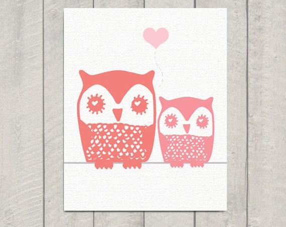 Nursery Owl Art Print - Mom and Baby Owl - 8x10