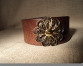 Leather Cuff with Brass Flower