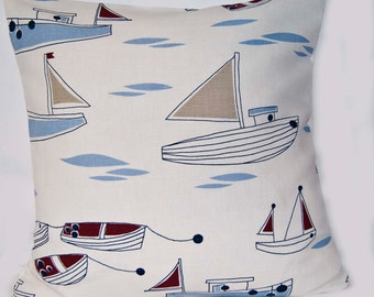 Nautical Cushion Cover - Linen Cotton Mix 16ins x 16ins  - Made in the UK