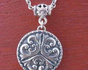 Pewter Button Necklace from Norway Tele